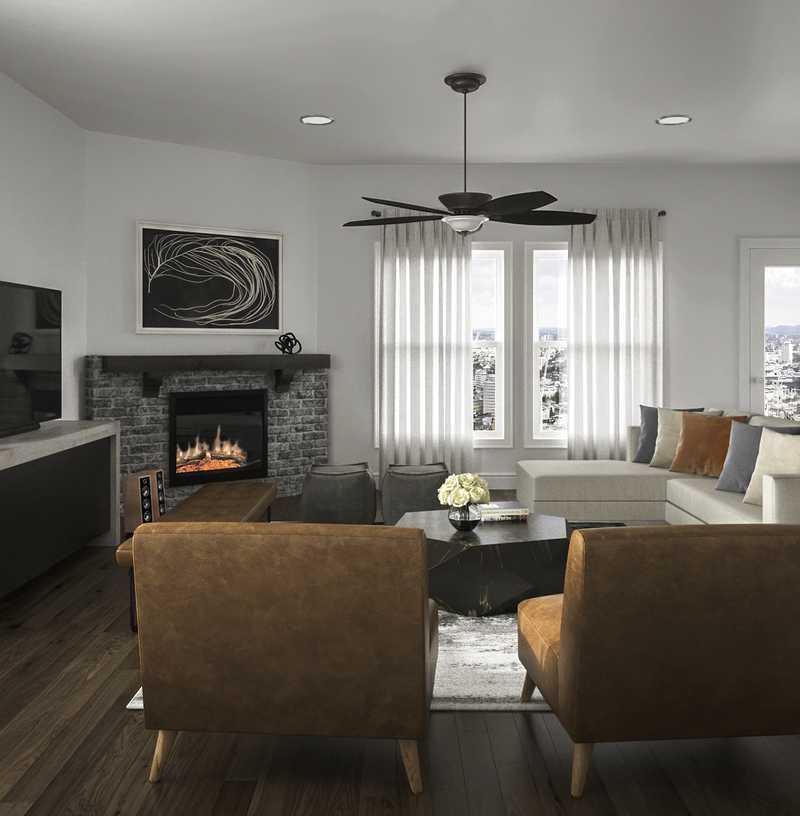 Contemporary, Industrial Living Room Design by Havenly Interior Designer Luisa