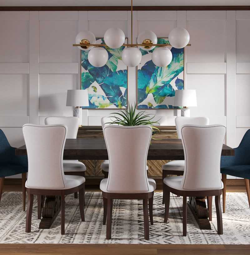 Eclectic, Industrial Dining Room Design by Havenly Interior Designer Natalie
