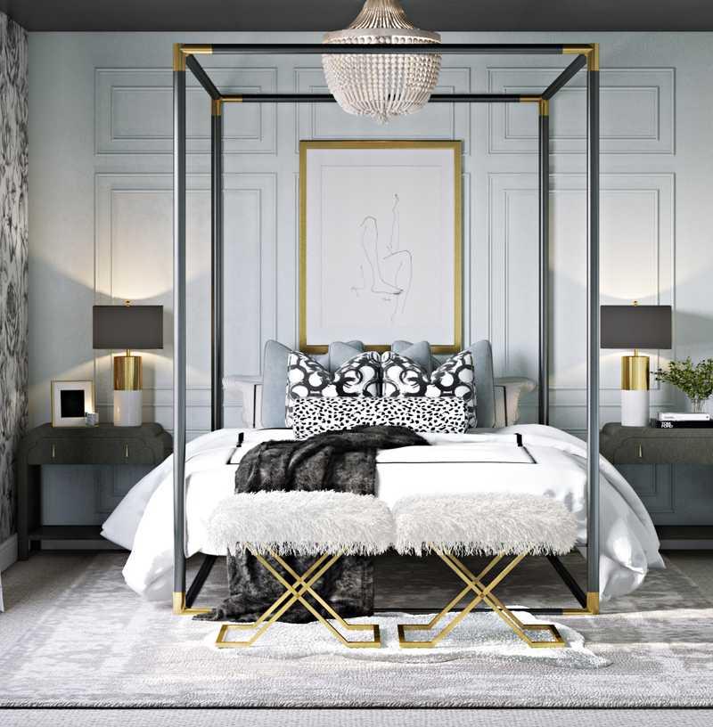 Contemporary, Glam, Preppy Bedroom Design by Havenly Interior Designer Hannah