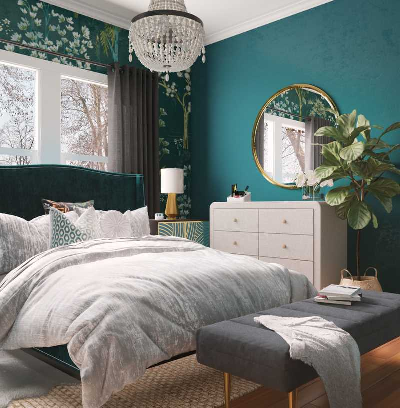 Eclectic, Bohemian, Glam Bedroom Design by Havenly Interior Designer Hanna