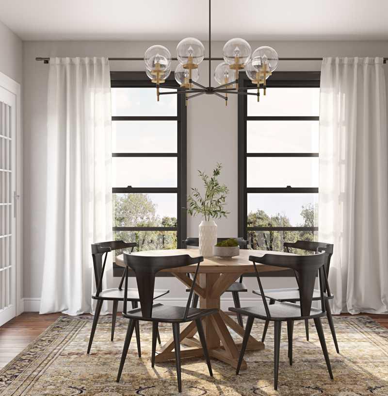 Farmhouse, Rustic, Minimal Dining Room Design by Havenly Interior Designer Chelsea