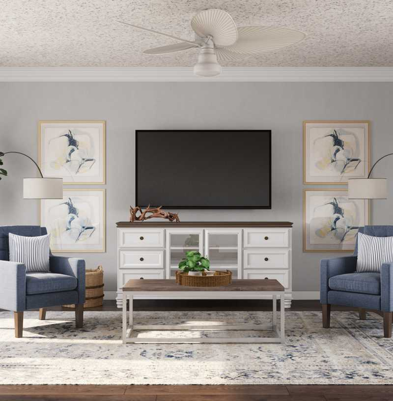 Coastal Living Room Design by Havenly Interior Designer Levi