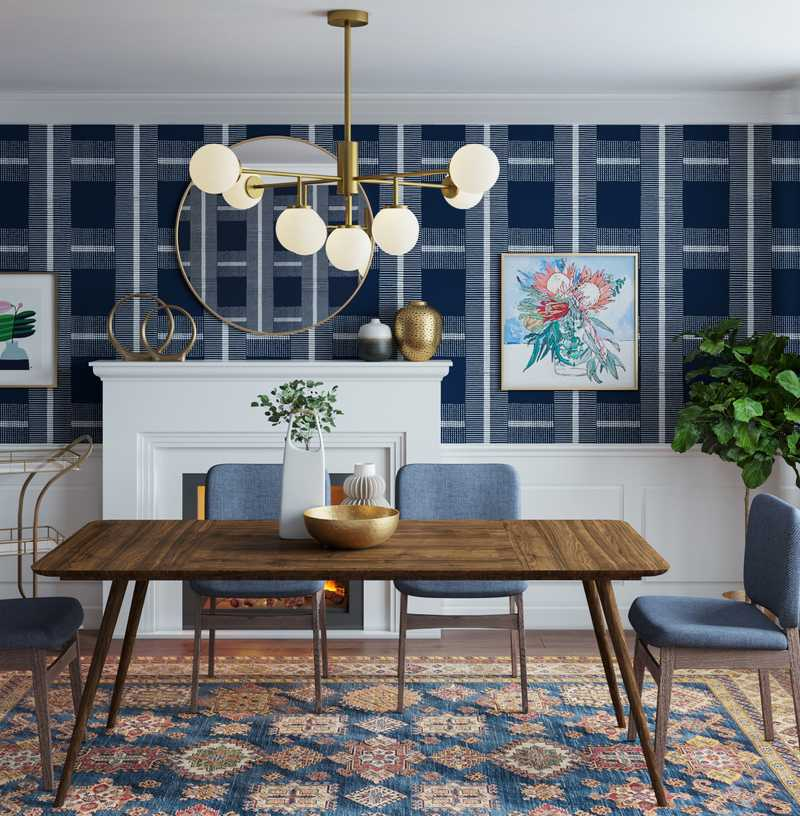 Modern, Bohemian, Midcentury Modern Dining Room Design by Havenly Interior Designer Natalie