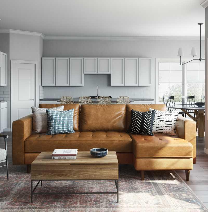 Bohemian, Southwest Inspired, Midcentury Modern Living Room Design by Havenly Interior Designer Keri