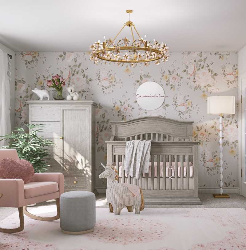 Bohemian, Glam, Farmhouse Nursery Design by Havenly Interior Designer Danielle