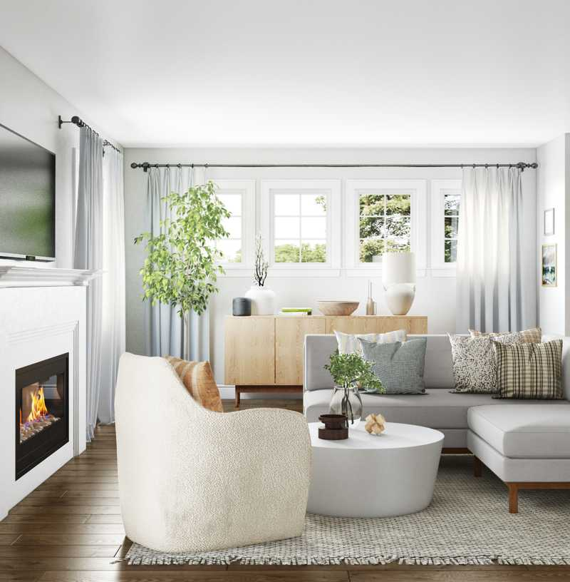 Contemporary, Eclectic Living Room Design by Havenly Interior Designer Sarah