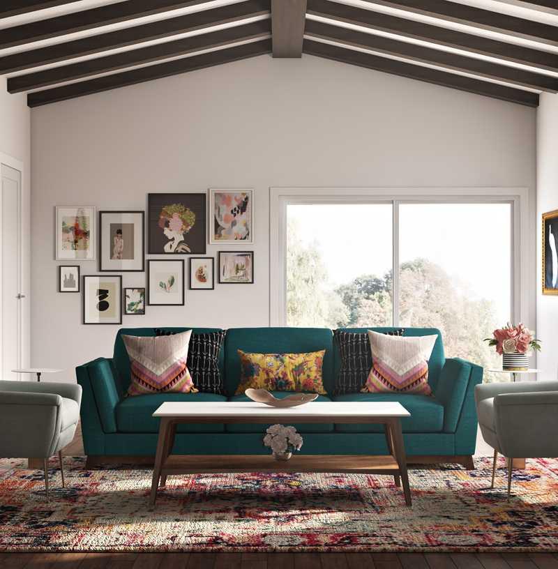 Eclectic, Bohemian, Global, Midcentury Modern Living Room Design by Havenly Interior Designer Masooma