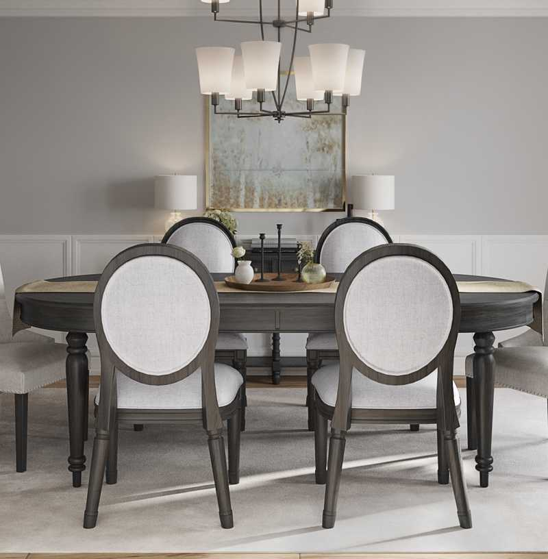 Classic, Transitional Dining Room Design by Havenly Interior Designer Leslie