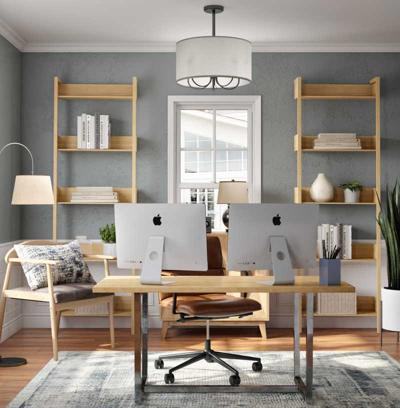 Industrial, Rustic, Global, Minimal Office Design by Havenly Interior Designer Brittany