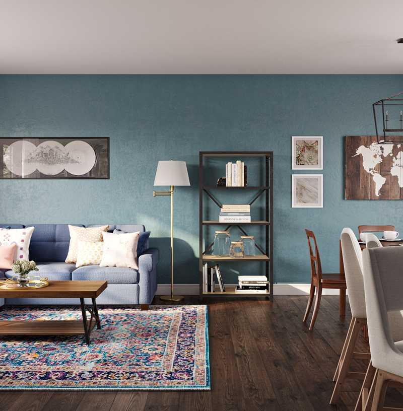 Contemporary, Modern, Bohemian Living Room Design by Havenly Interior Designer Eva