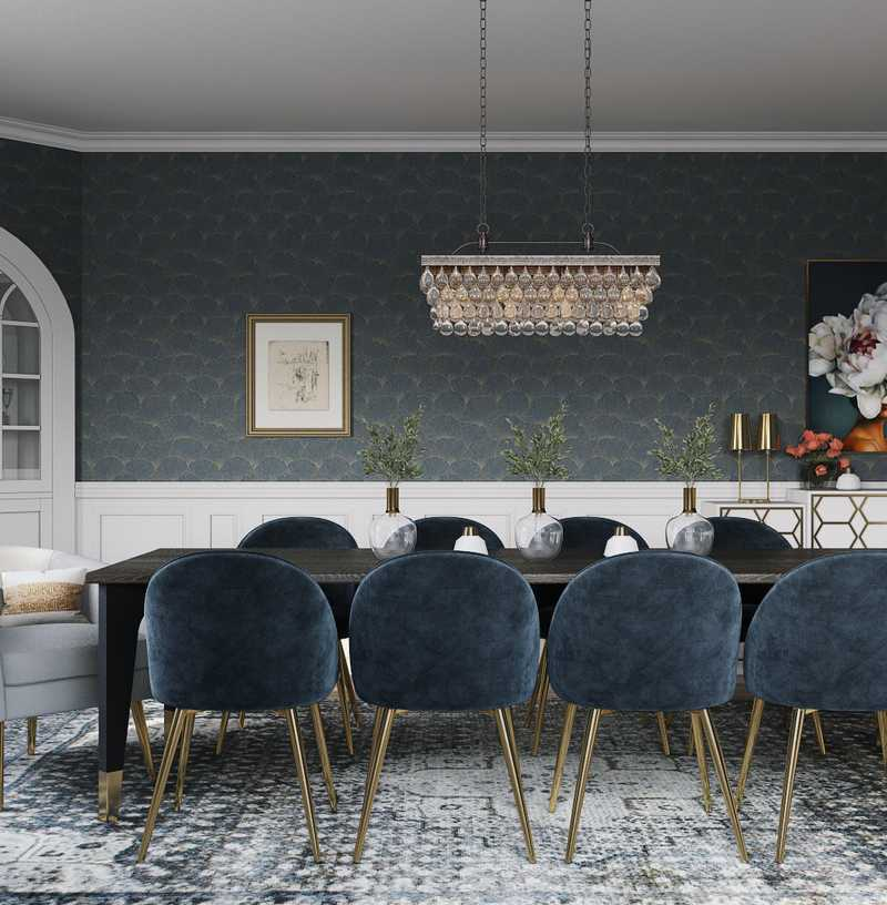 Classic, Glam, Traditional Dining Room Design by Havenly Interior Designer Stacy