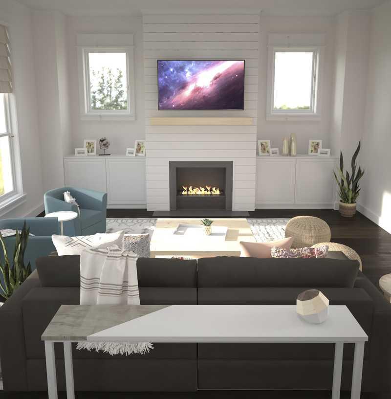 Contemporary, Eclectic, Coastal Living Room Design by Havenly Interior Designer Allison