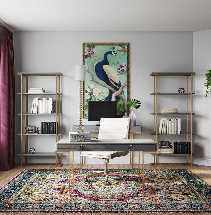 Modern, Eclectic, Glam, Preppy Office Design by Havenly Interior Designer Kristy