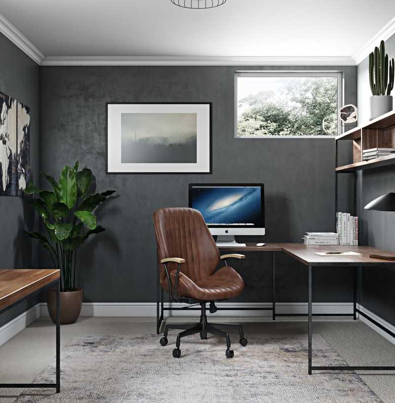 Industrial, Rustic Office Design by Havenly Interior Designer Elyse