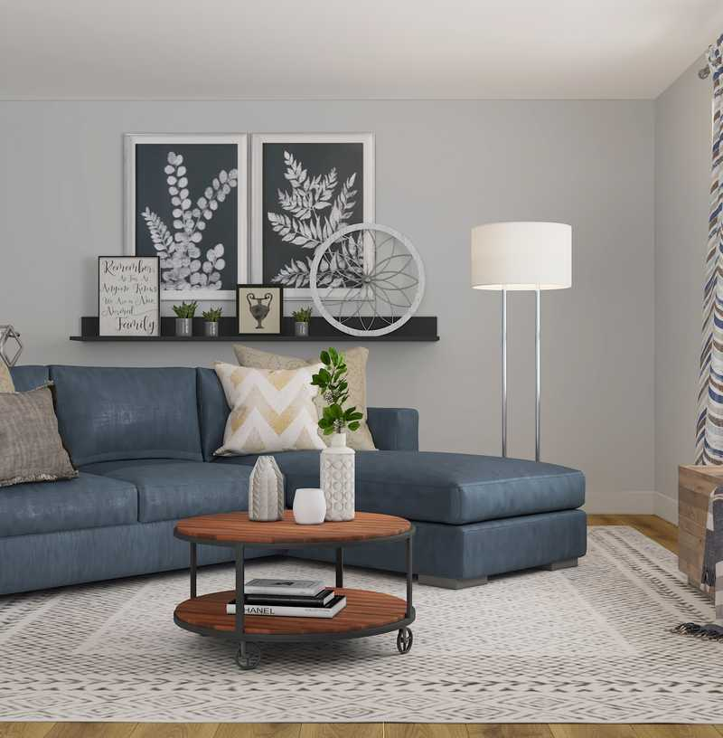 Contemporary, Farmhouse Living Room Design by Havenly Interior Designer Robyn