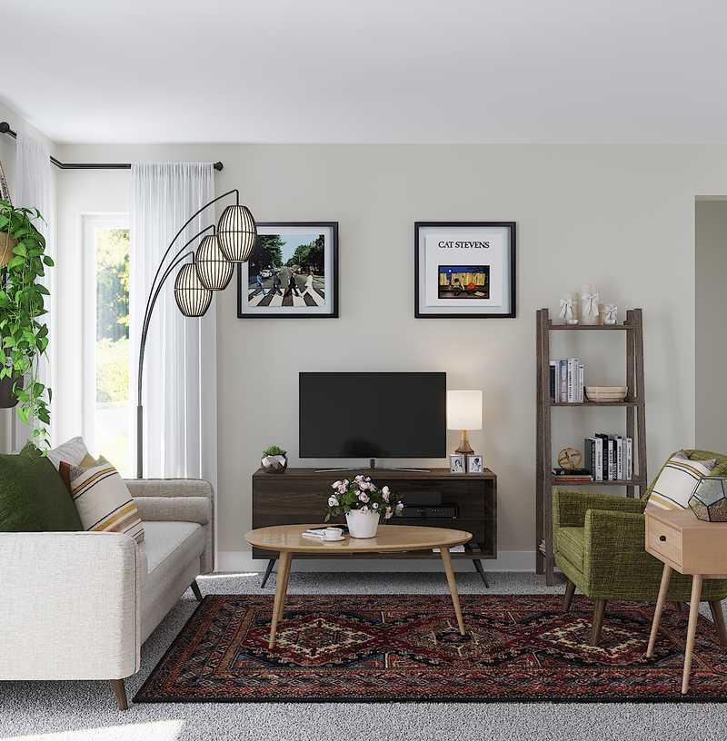 Bohemian, Midcentury Modern, Scandinavian Living Room Design by Havenly Interior Designer Cherise