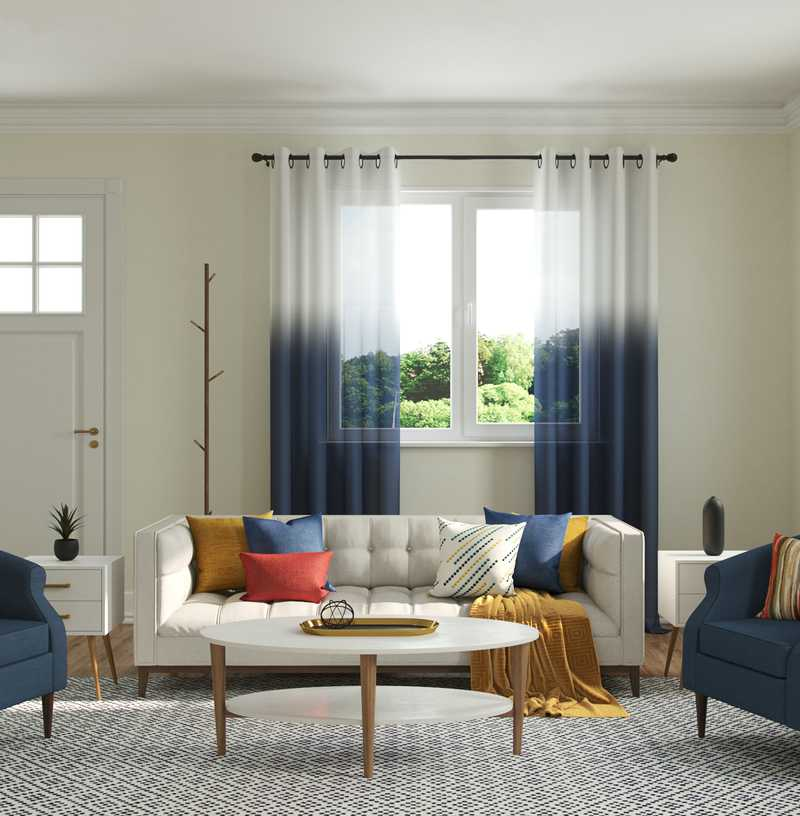 Bohemian, Midcentury Modern Living Room Design by Havenly Interior Designer Andrea