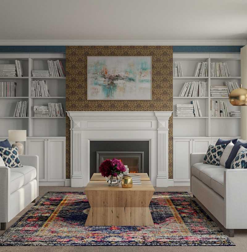 Bohemian, Glam, Scandinavian Living Room Design by Havenly Interior Designer Jenna