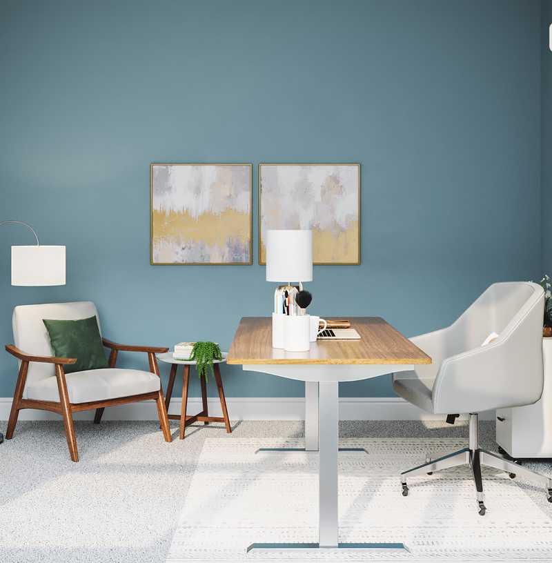 Midcentury Modern, Scandinavian Office Design by Havenly Interior Designer Julie