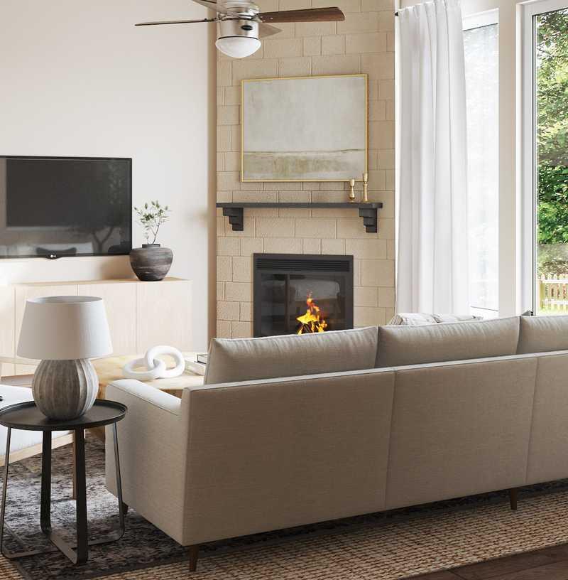 Coastal, Global Living Room Design by Havenly Interior Designer Nicole