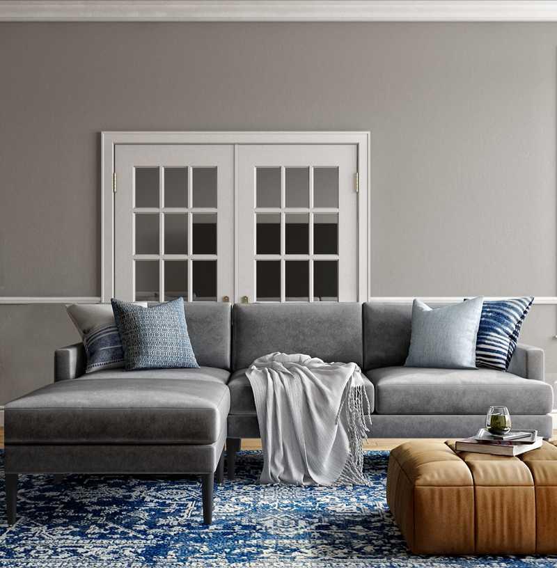 Bohemian, Coastal Living Room Design by Havenly Interior Designer Natalie