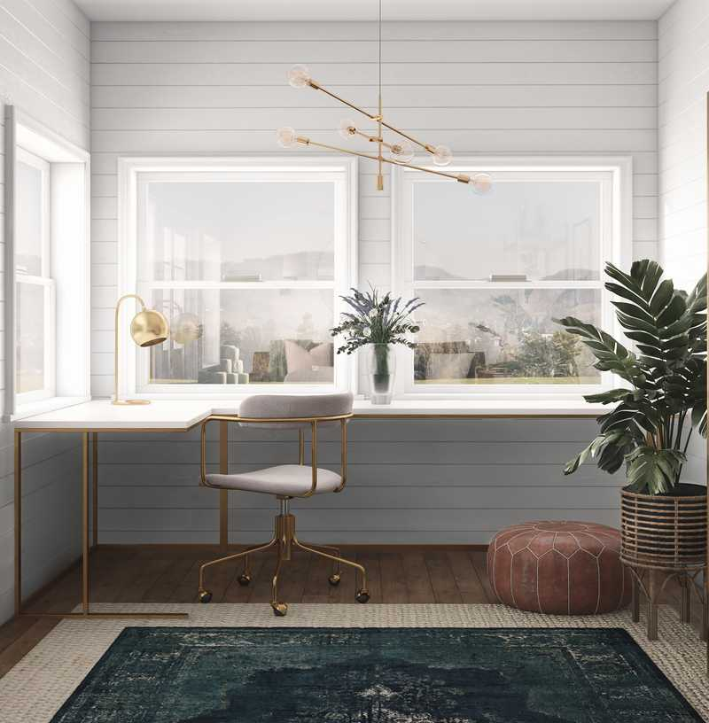 Bohemian, Glam, Midcentury Modern Office Design by Havenly Interior Designer Taylor