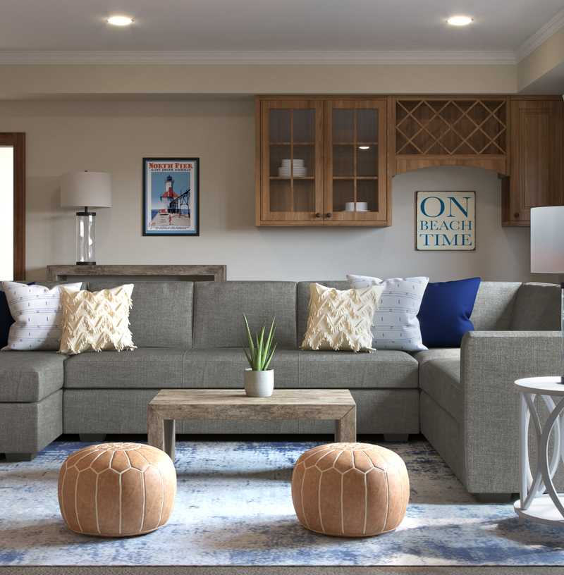 Contemporary, Classic, Coastal Living Room Design by Havenly Interior Designer Rachel