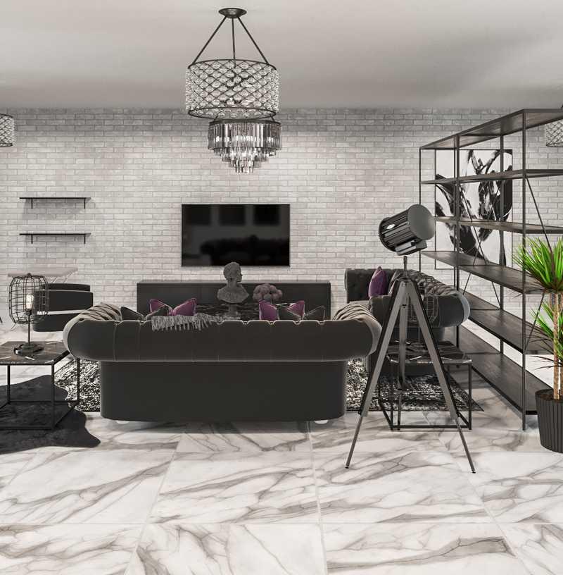 Glam, Industrial Living Room Design by Havenly Interior Designer Levi