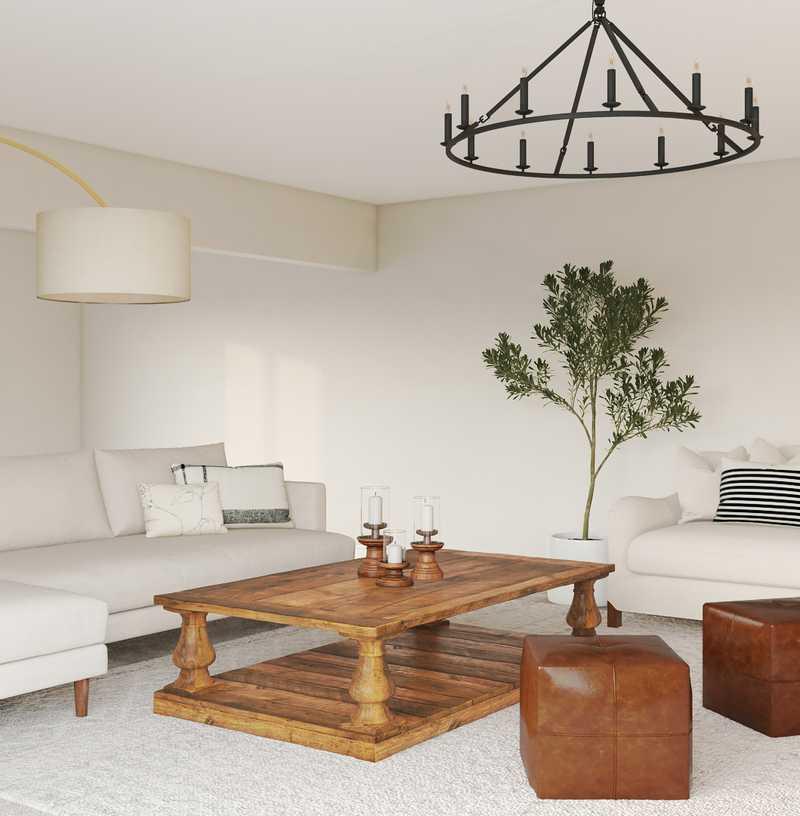 Farmhouse, Midcentury Modern Living Room Design by Havenly Interior Designer Olivia