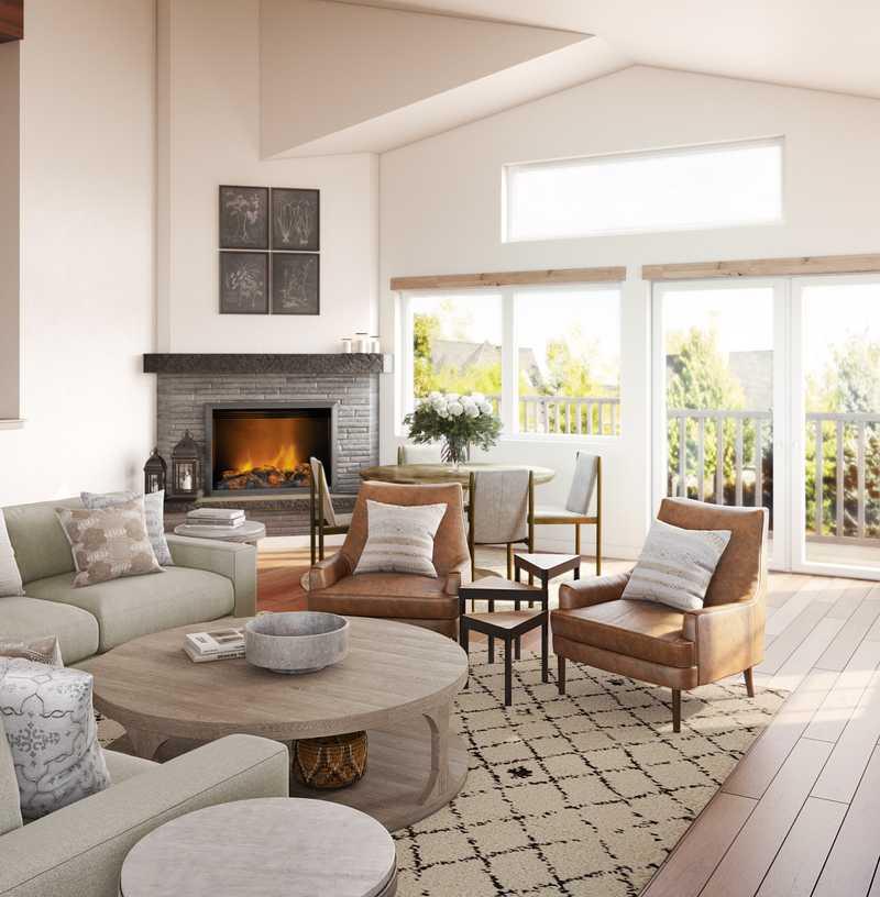 Farmhouse, Rustic, Transitional Living Room Design by Havenly Interior Designer Ciara