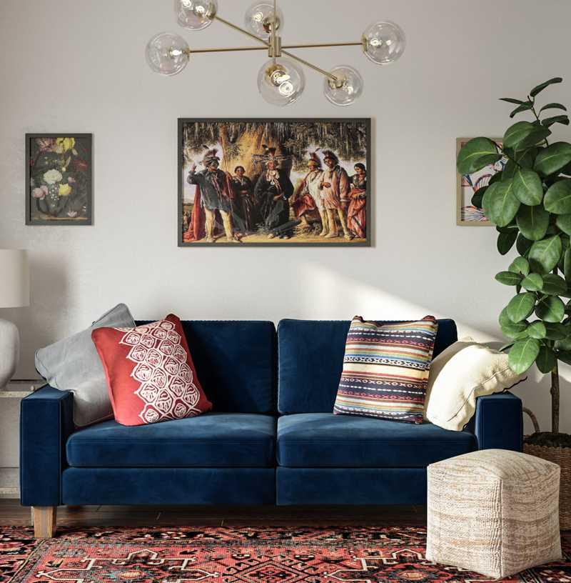Eclectic, Bohemian, Midcentury Modern Office Design by Havenly Interior Designer Samantha
