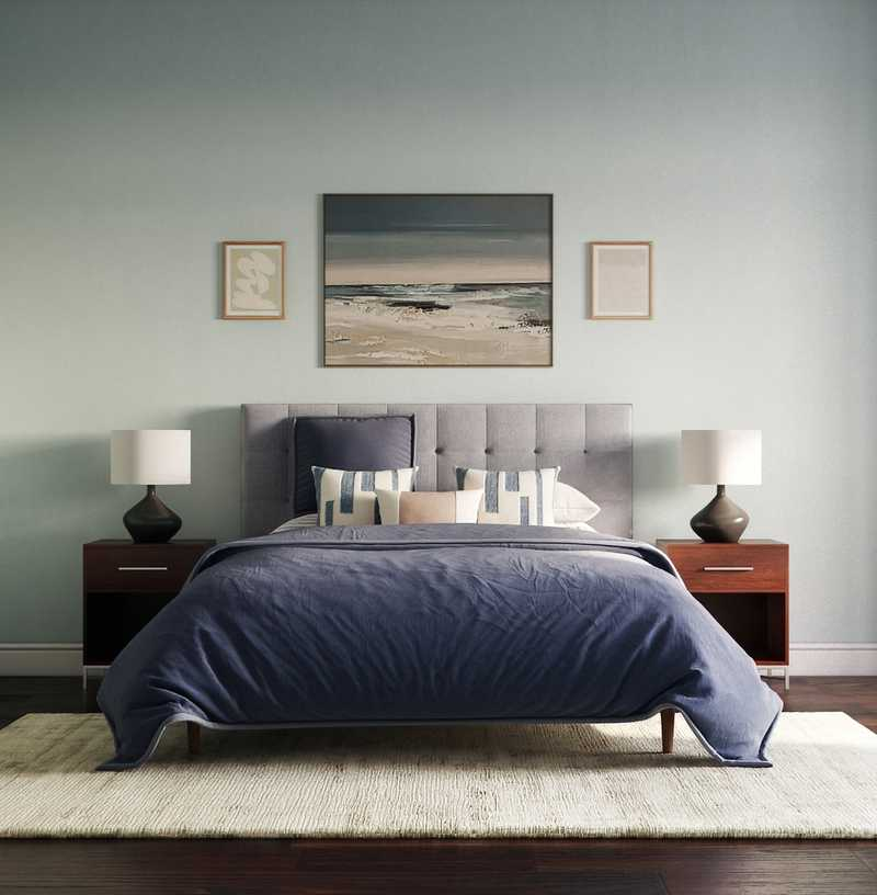 Midcentury Modern, Minimal, Scandinavian Bedroom Design by Havenly Interior Designer Masooma