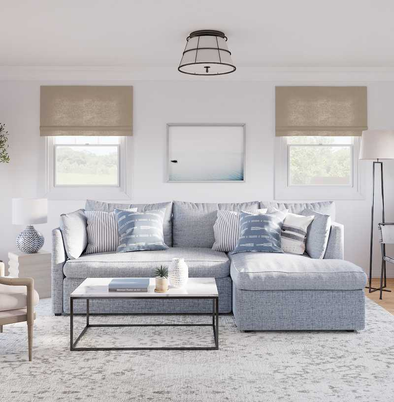 Coastal, Farmhouse, Transitional Living Room Design by Havenly Interior Designer Jennifer