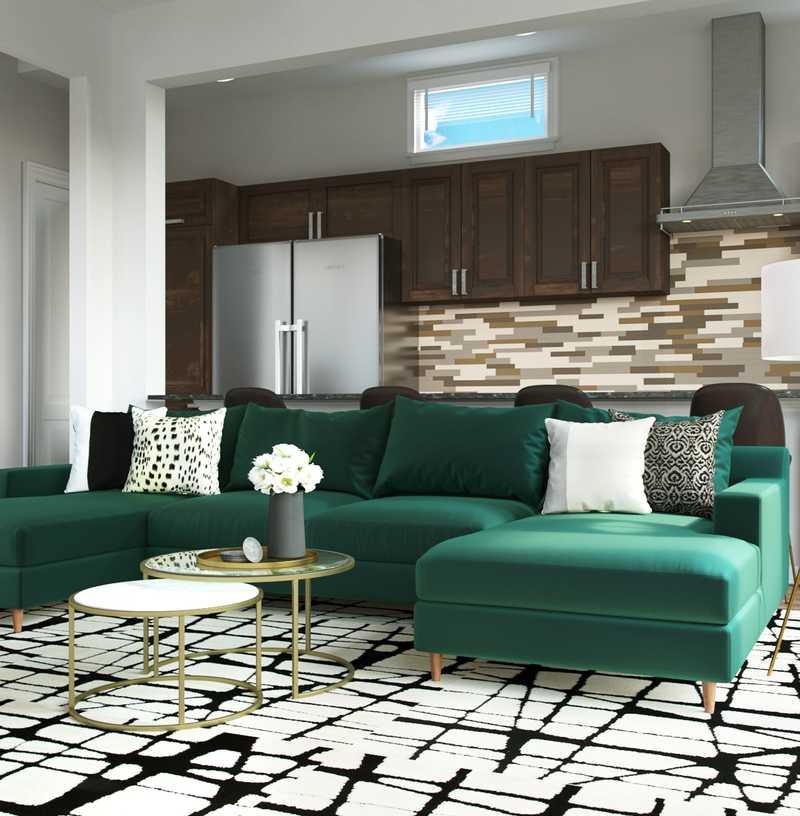 Contemporary, Glam Living Room Design by Havenly Interior Designer Erin