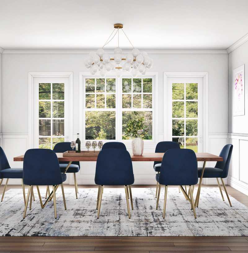 Glam, Preppy Dining Room Design by Havenly Interior Designer Stephanie