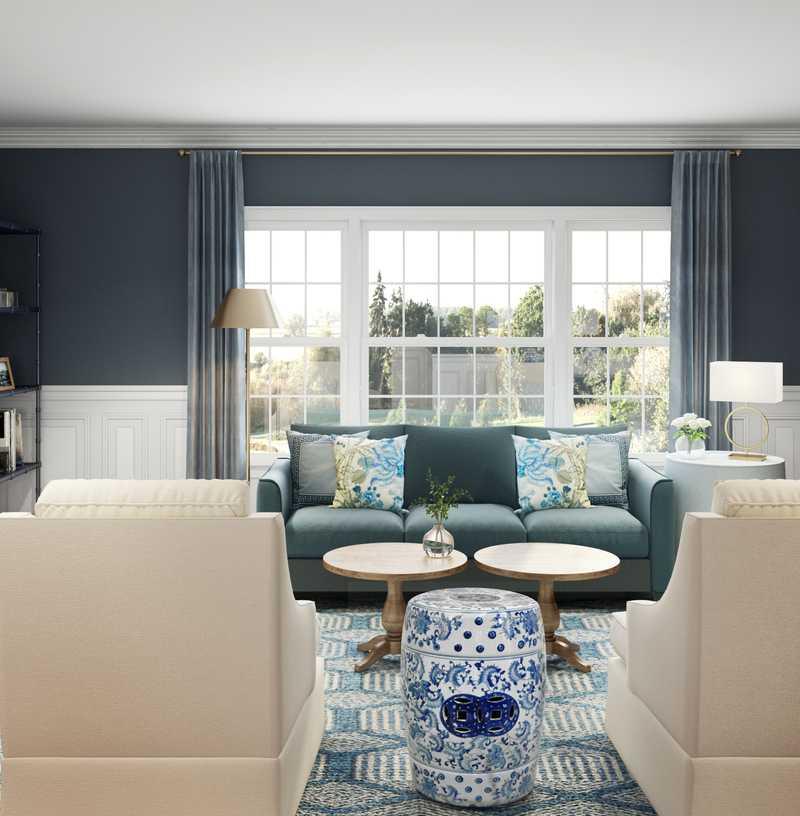 Classic, Traditional, Preppy Living Room Design by Havenly Interior Designer Brooke