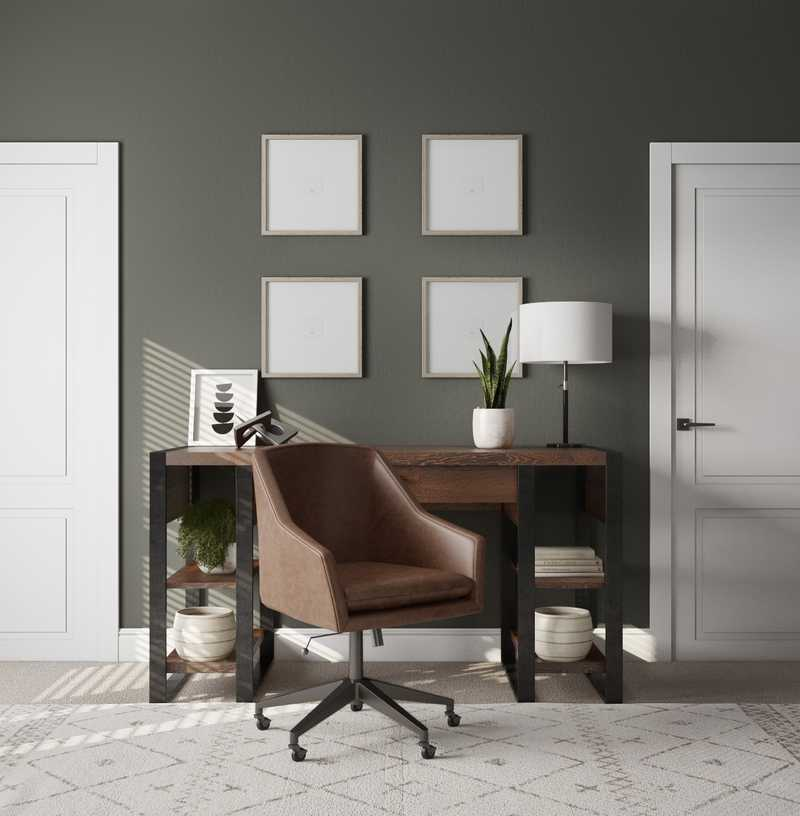 Modern, Industrial, Farmhouse, Rustic Office Design by Havenly Interior Designer Laura