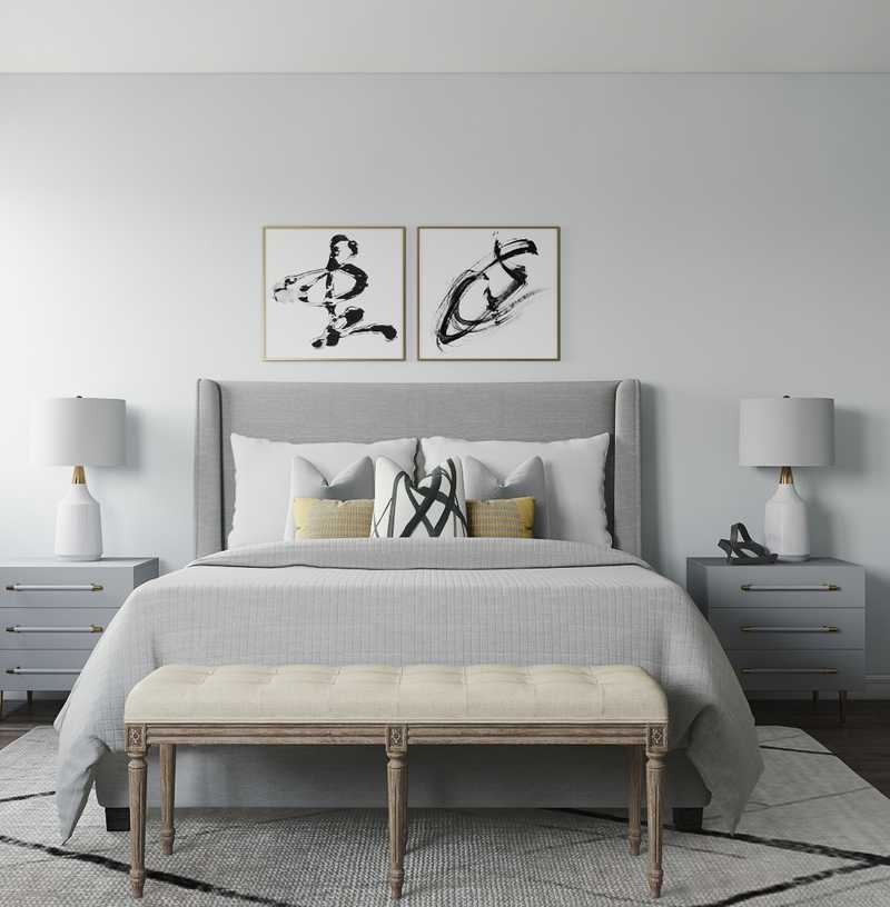 Eclectic, Glam, Industrial, Midcentury Modern, Scandinavian Bedroom Design by Havenly Interior Designer Karen