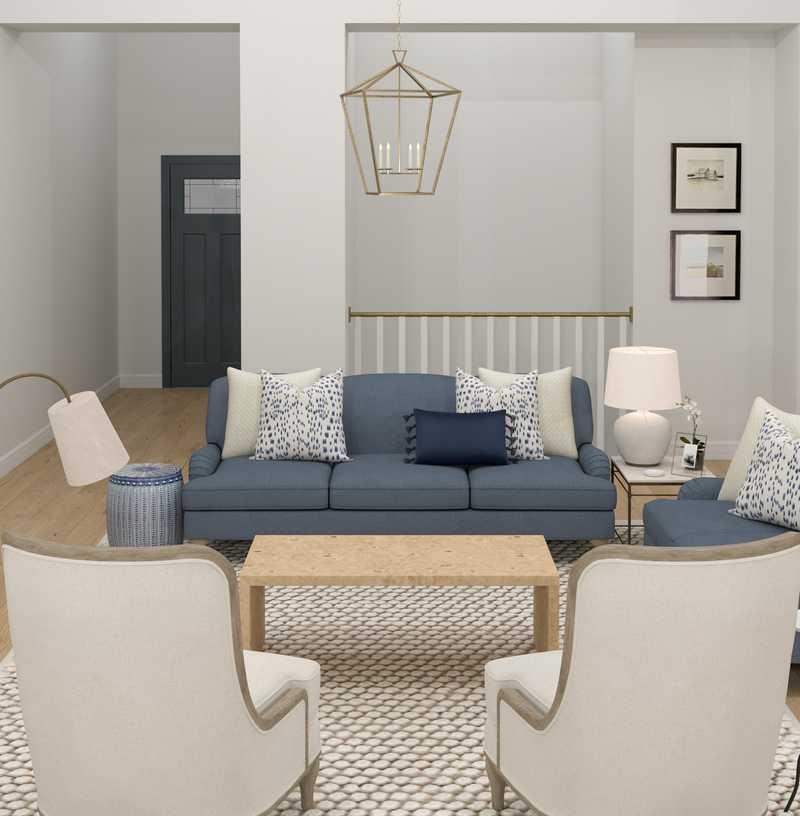 Coastal, Glam, Traditional, Farmhouse Living Room Design by Havenly Interior Designer Sara