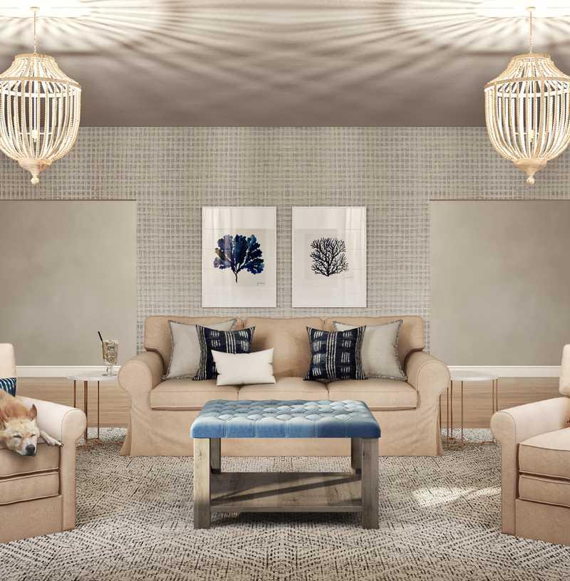 Contemporary, Bohemian, Coastal, Farmhouse, Minimal Living Room Design by Havenly Interior Designer Sandra