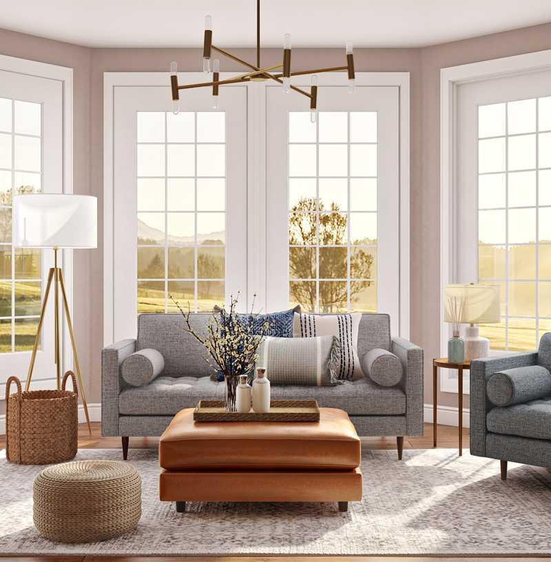 Coastal, Farmhouse Living Room Design by Havenly Interior Designer Terezia