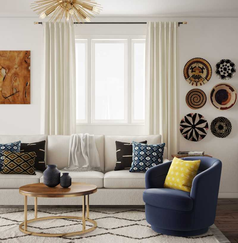 Contemporary, Modern, Eclectic Living Room Design by Havenly Interior Designer Katherine