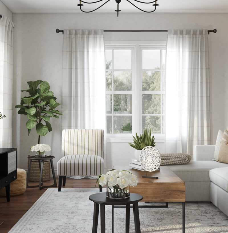 Coastal, Farmhouse, Transitional Living Room Design by Havenly Interior Designer Kacey
