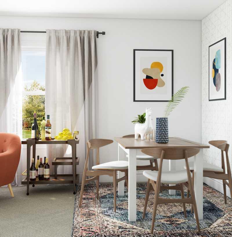 Bohemian, Midcentury Modern Dining Room Design by Havenly Interior Designer Michelle