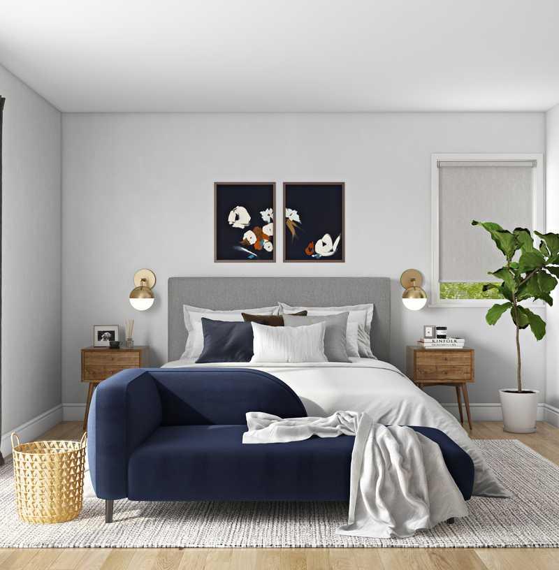 Midcentury Modern, Minimal, Scandinavian Bedroom Design by Havenly Interior Designer Maria