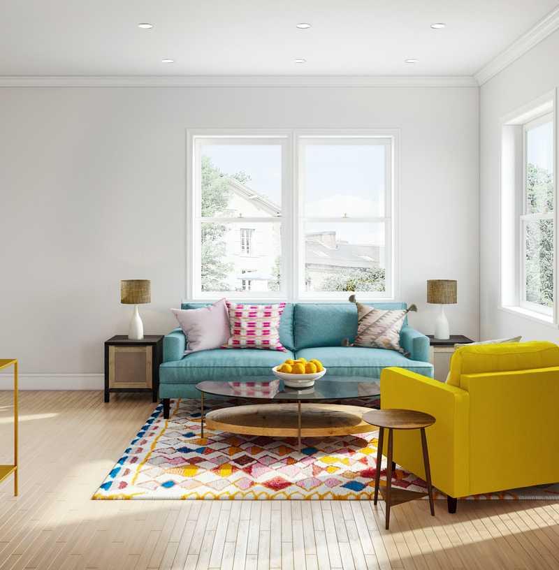 Bohemian, Midcentury Modern Living Room Design by Havenly Interior Designer Markie