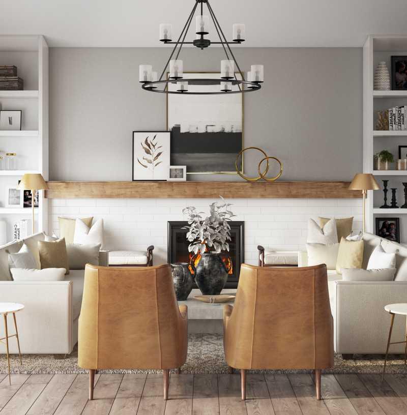Contemporary, Modern, Bohemian, Farmhouse, Rustic, Transitional, Scandinavian Living Room Design by Havenly Interior Designer Lisa