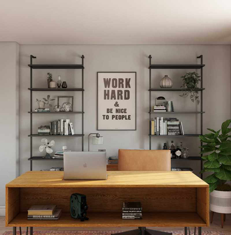 Eclectic, Industrial Office Design by Havenly Interior Designer Natalie