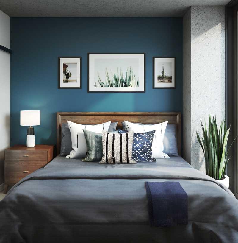 Bohemian, Global, Midcentury Modern Bedroom Design by Havenly Interior Designer Lydia