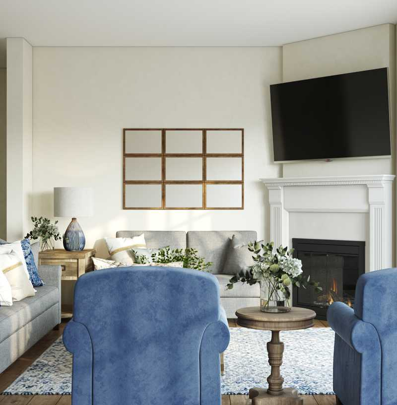 Traditional, Farmhouse Living Room Design by Havenly Interior Designer Kate